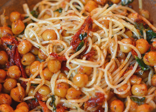 Parmesan pasta with sun-dried tomatoes & paprika chick peas - Farmgirl ...