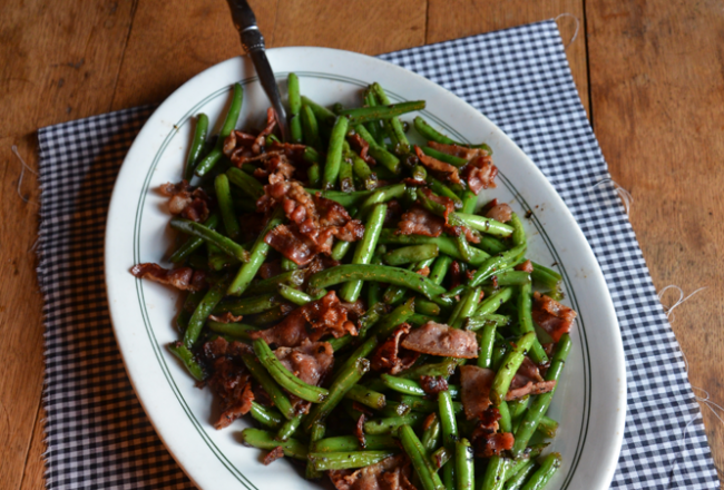 Garden fresh green beans with bacon and shallots. | Farmgirl Follies