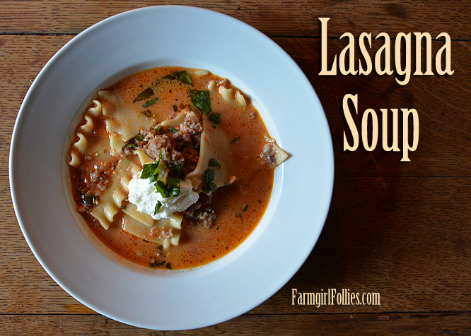 Lasagna Soup with Fresh Basil