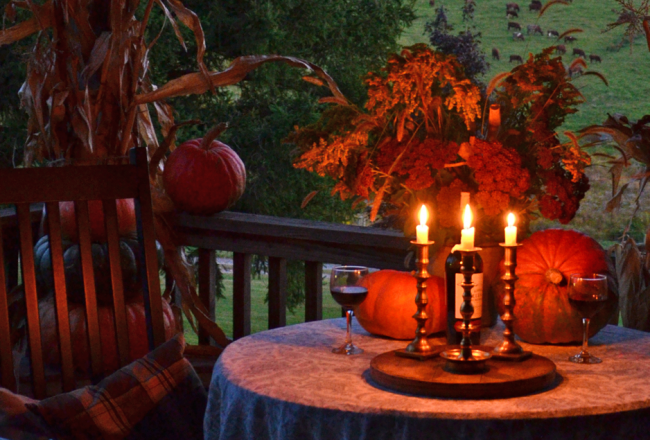 An autumn porch party for two.
