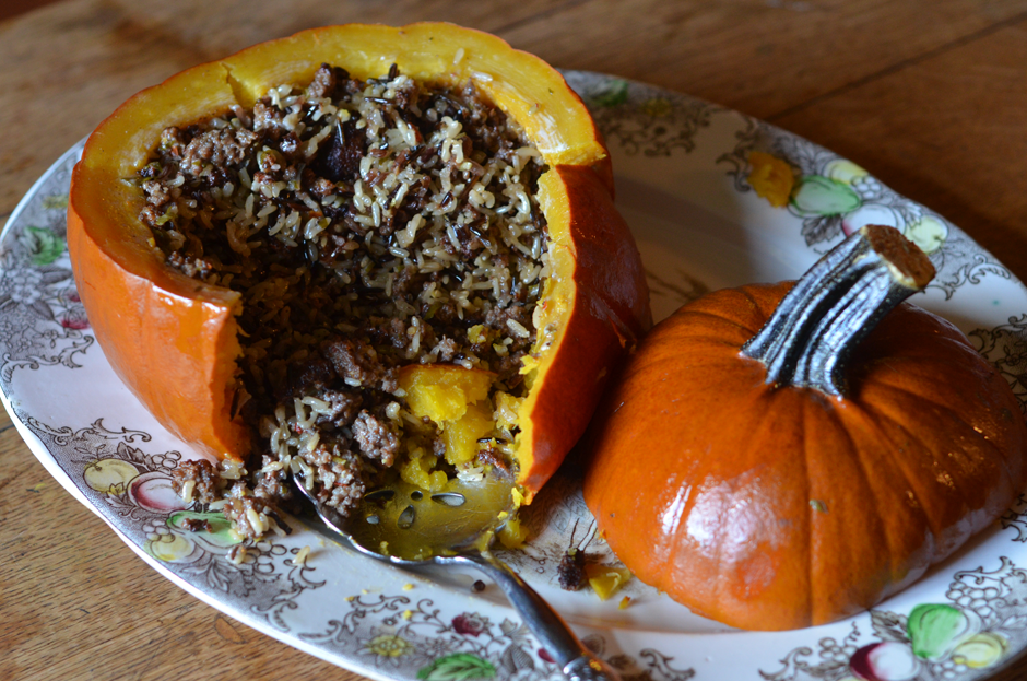 Slow Cooker Sausage Stuffed Pumpkin
