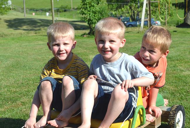 Boys on homemade cart