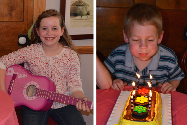 Birthday cake and guitar serenade