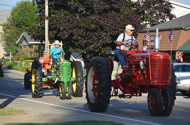 Antique tractors on parade
