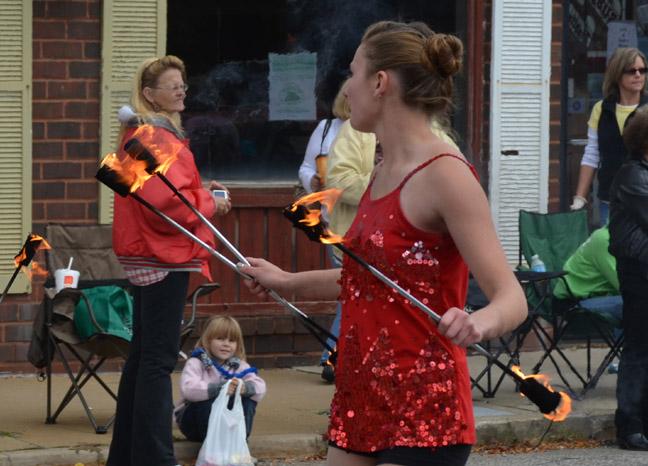 Fiery batons twirler parade