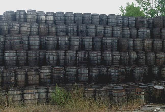 Wine barrels, whiskey barrels