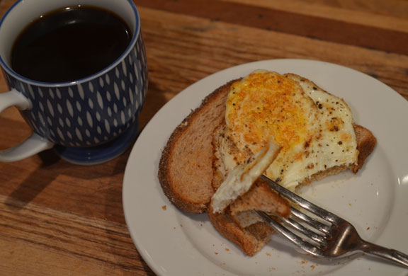 Breakfast egg, toast and coffee
