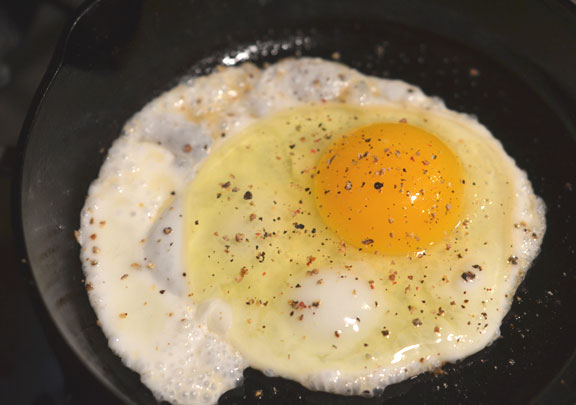 Egg in cast iron skillet