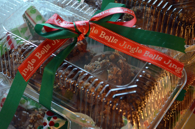 Jingle bell ribbon and a Christmas cookie box