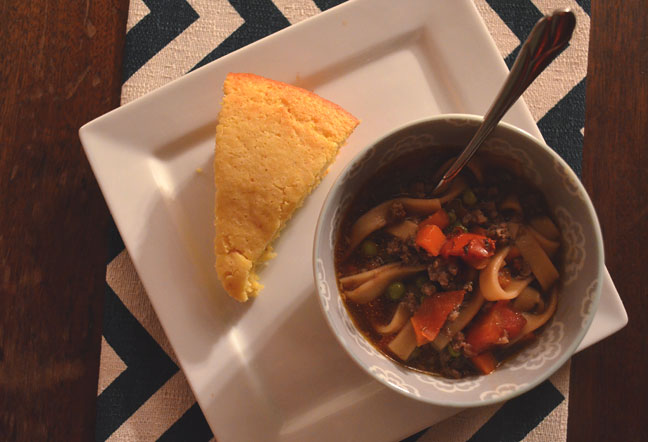 Soup and cornbread