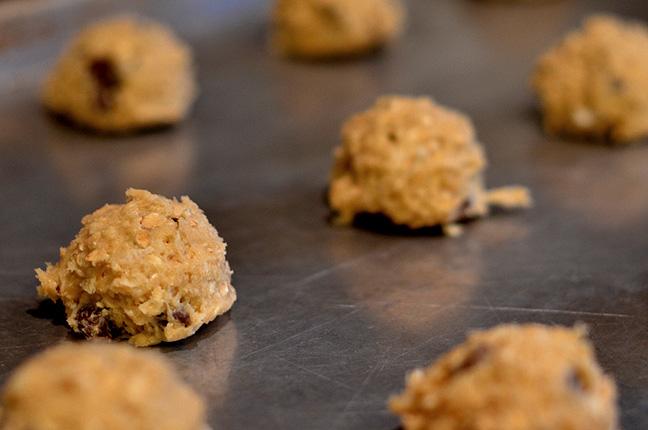 Cookie dough on a baking sheet