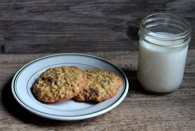 Oatmeal Chocolate Chip Cookies and milk