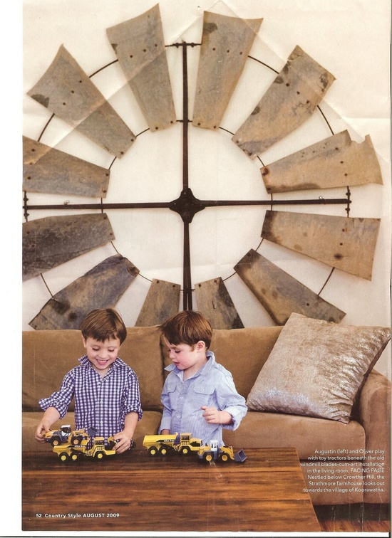 A wind mill on a wall - interior decor