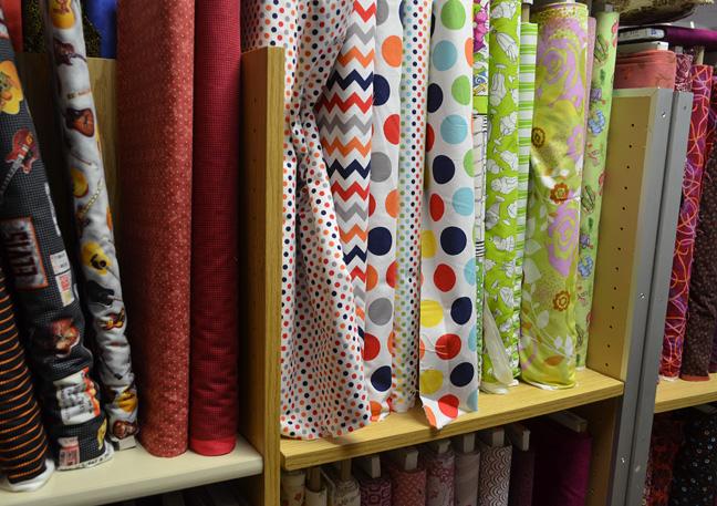 Chevron and polk dot patterned fabrics
