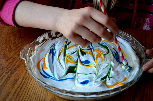 Shaving Cream & Food Coloring - craft