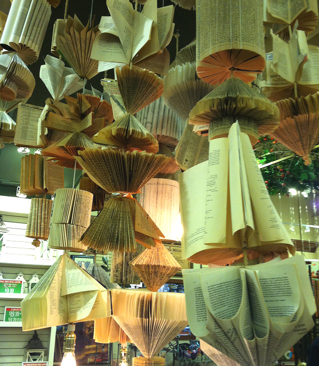 Ceiling lights from books