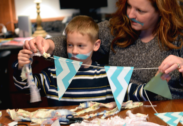 Making bunting with chevron striped contact paper
