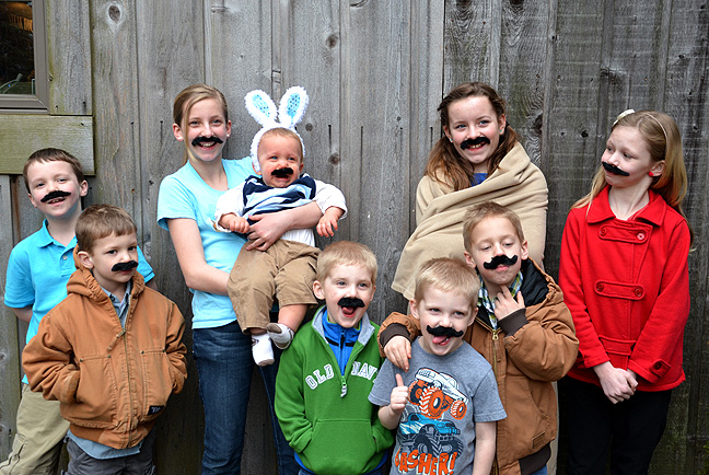 Moustaches, kids and Easter bunnies