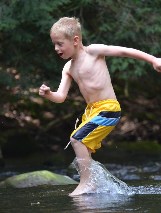 running through creek