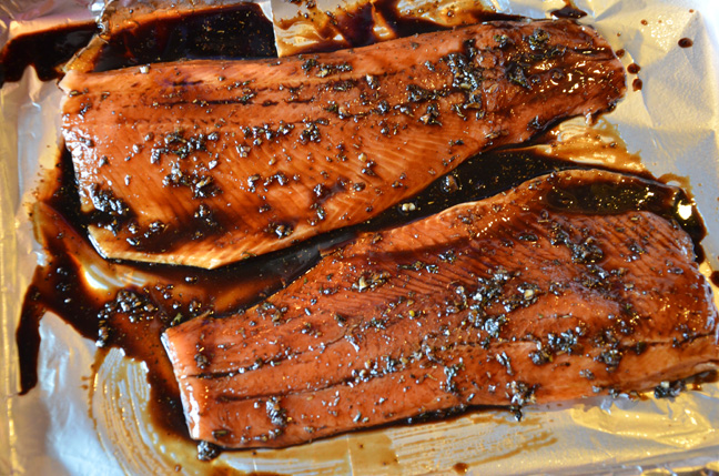 salmon and balsamic reduction
