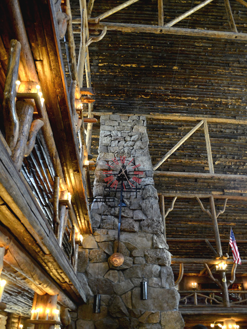 Old Faithful Inn fireplace
