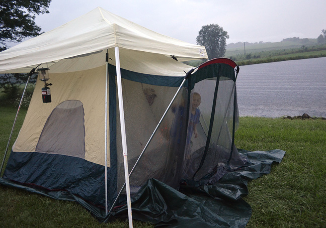 water-logged tent
