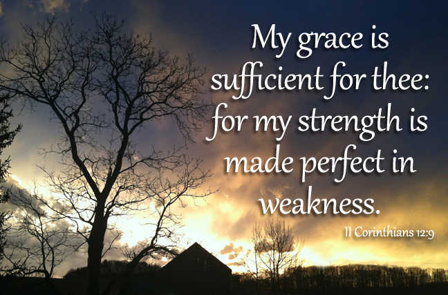 My grace is sufficient for thee: for my strength is made perfect in weakness. II Corinthians 12:9