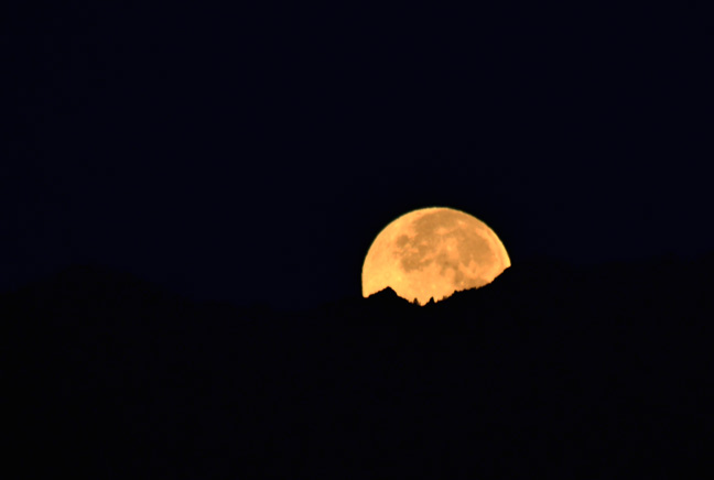 Moon over mountains in Palm Springs