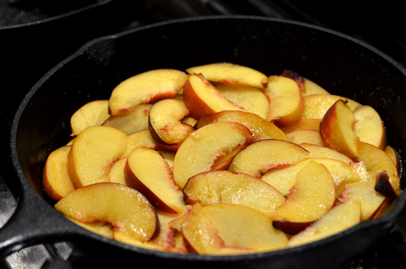 Peaches in cast iron skillet