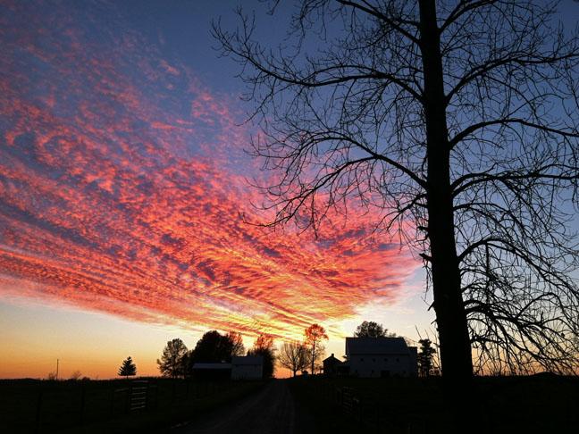 November sunset over McClester farm