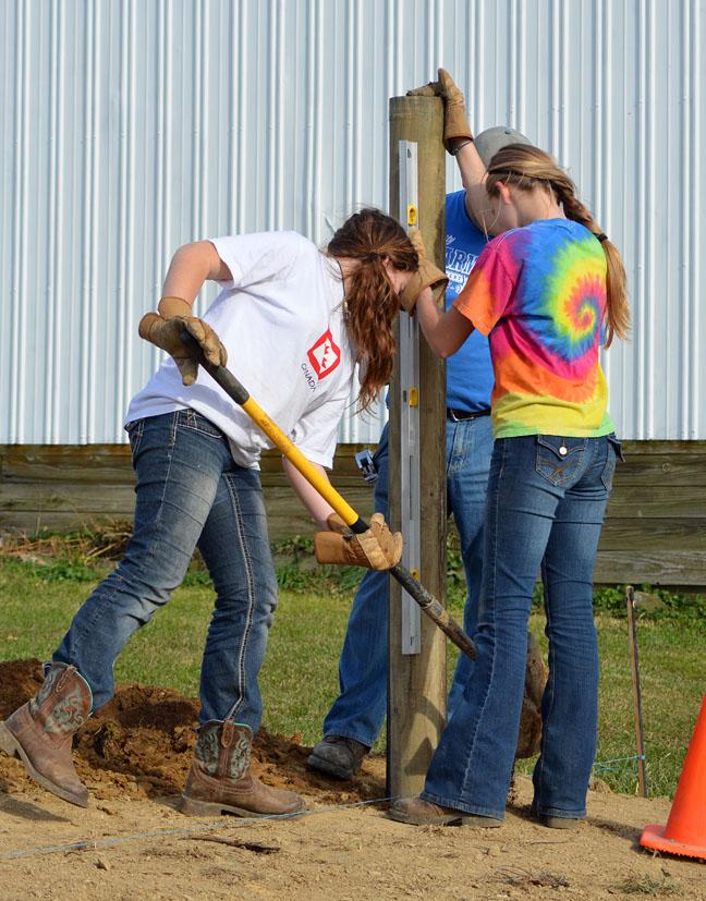 Farm girls building a fence