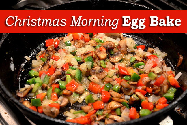 Christmas morning egg & bacon skillet bake