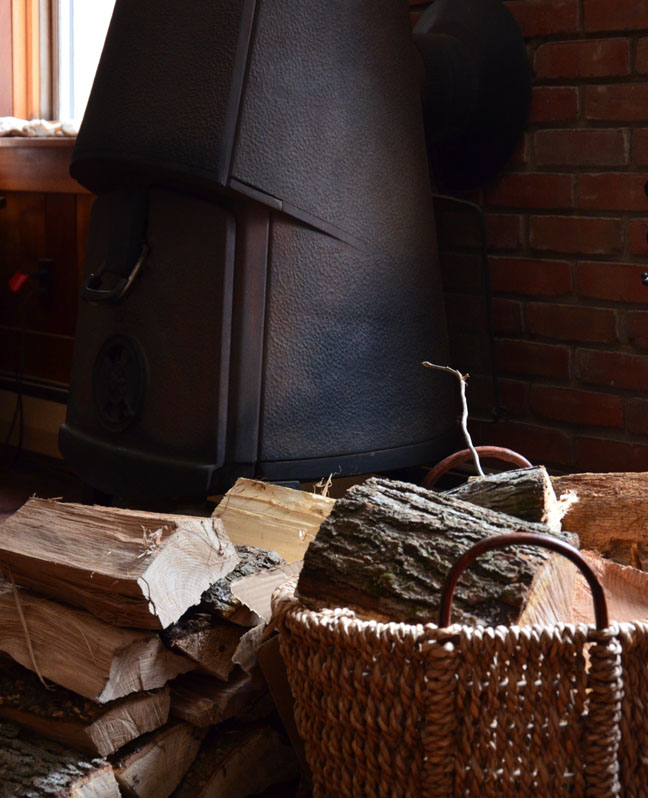 wood-burning stove and firewood