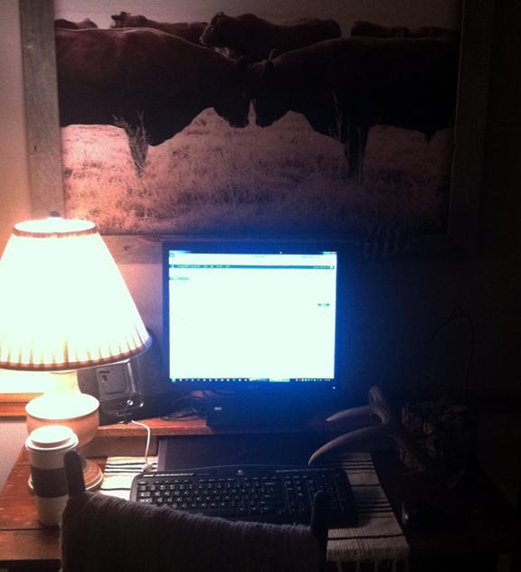 Early morning desk