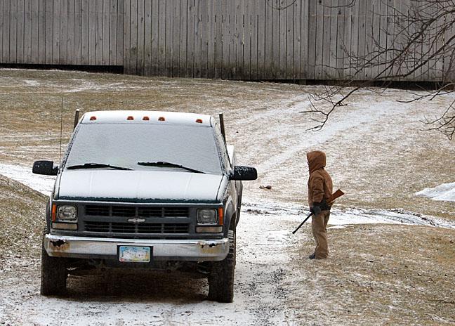 Boy hunting with BB gun
