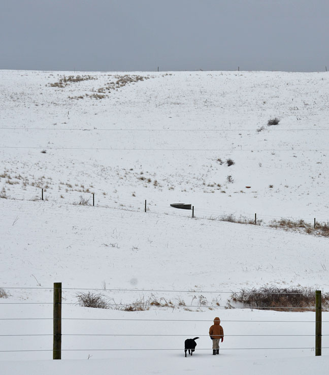 Boy walking in a snowy field
