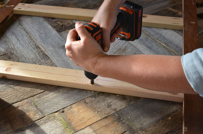 Countersink screws with a BLACK+DECKER lithium cordless drill to ensure boards don't split.
