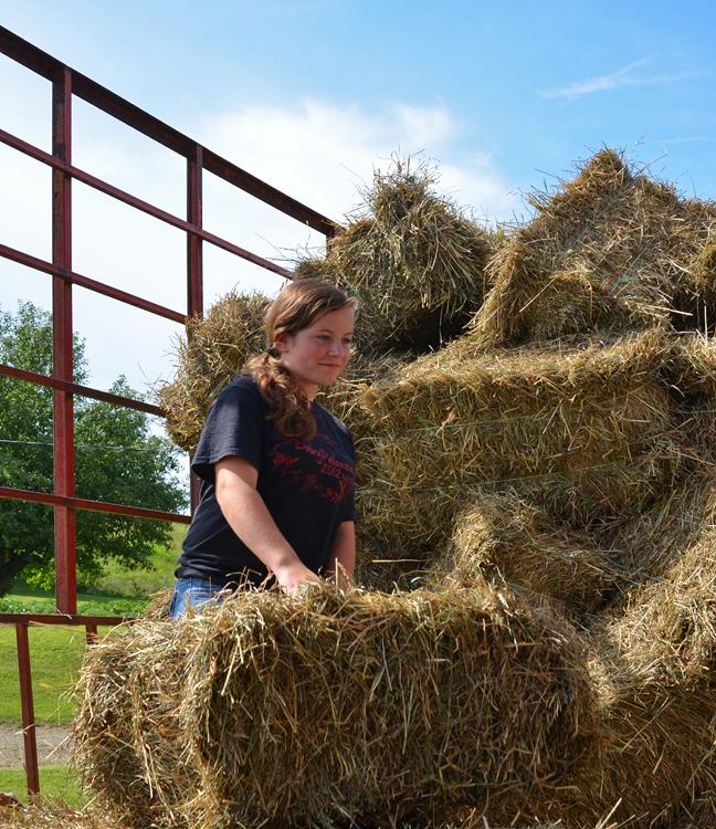Unloading the hay wagon is hard work