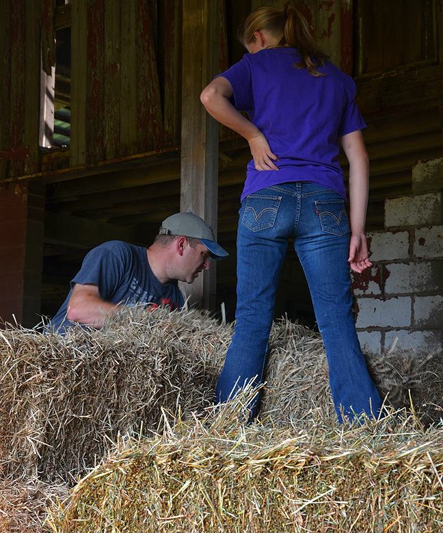 Stacking hay in the barn is hard work.