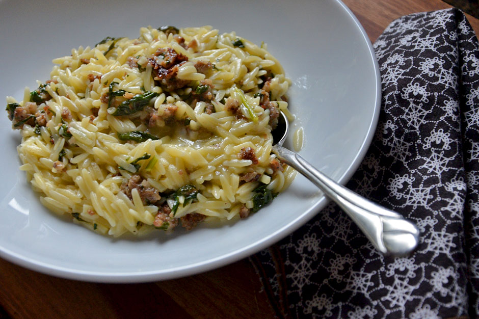 Sausage Spinach & Orzo with White Wine