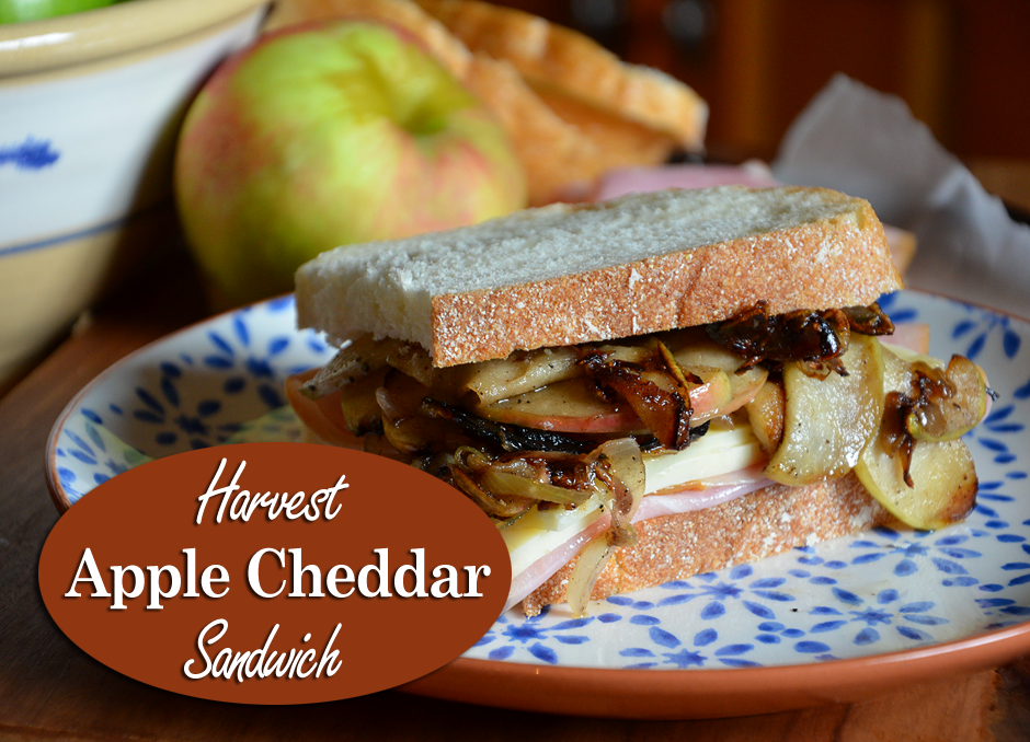 Harvest Apple Cheddar Sandwich made with smokehouse ham, fresh fall apples and Cabot Seriously Sharp Cheddar.