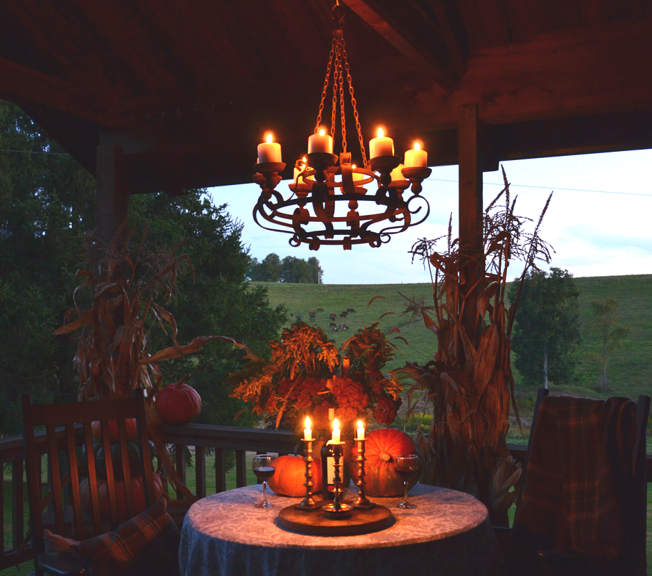 An autumn party for two on the porch.