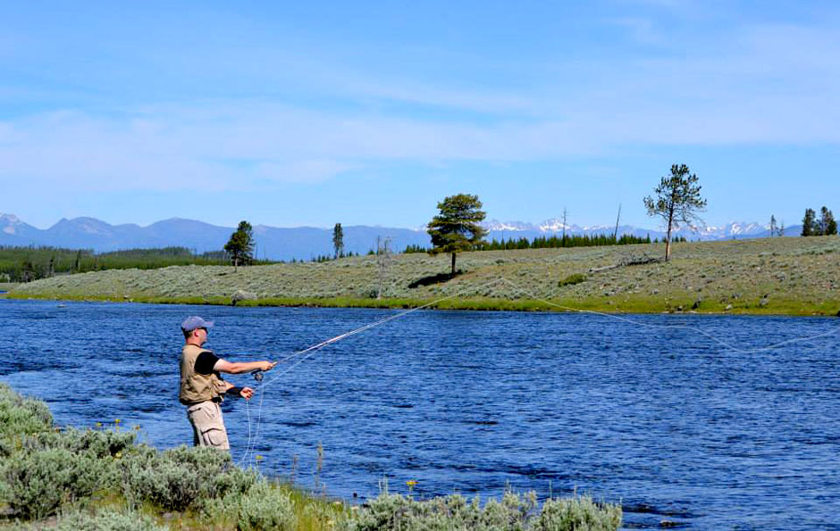 Fly fishing along the Yellowstone River