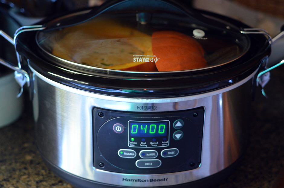 Hamilton Beach Slow Cooker is perfect for making Sausage Stuffed Pumpkin