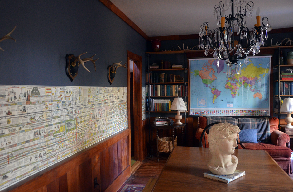 History Timeline & Map of the World on the wall as a border