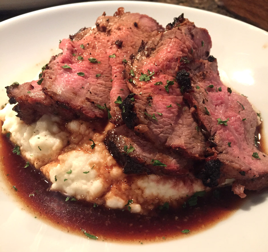 Grilled Tri-tip with mashed cauliflower