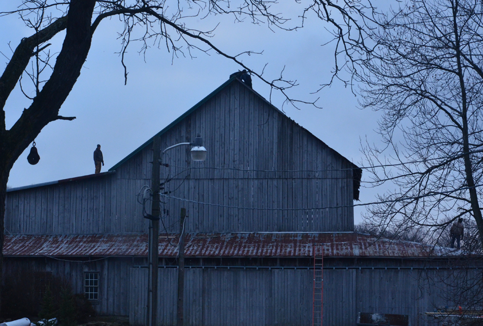 Barn roof reno - removing old slate and replacing with green steel.
