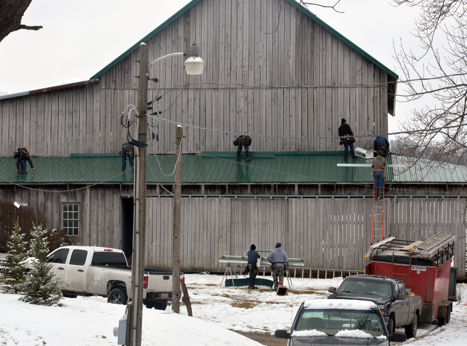 New steel roof on old barn.
