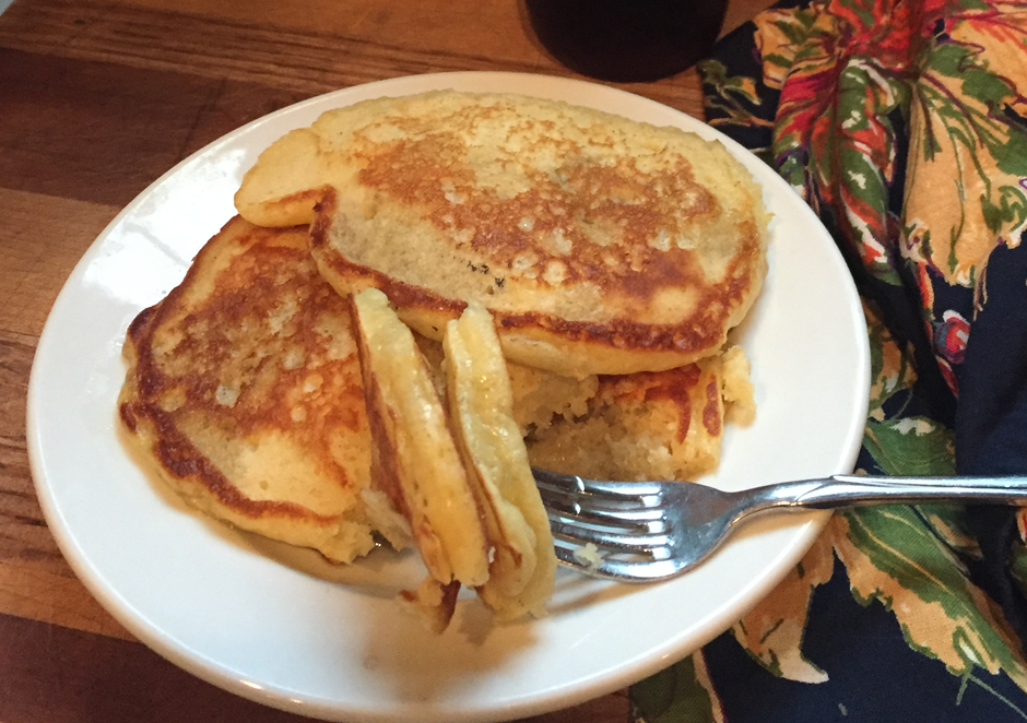 Lilac syrup over pancakes