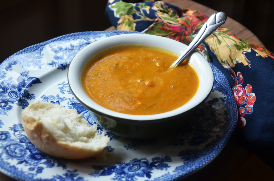 Pumpkin Sweet Potato Soup with Ham and Cheddar Cheese